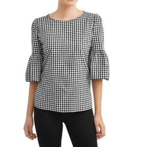 Time and Tru Black and White Gingham Bell sleeve